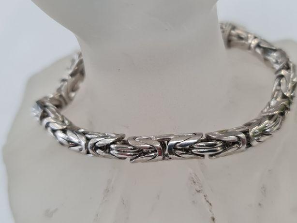 Splot królewski! Piękna srebrna bransoletka/ 925/ 28.6 gram/ 20cm