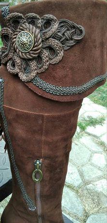 Женские замшевые сапоги 35,5-36 р демисезонные, кожаные