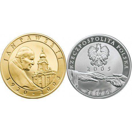 Moneta kolekcjonerska 10 zł Jan Paweł II 1920 . 2005 (platerowany)