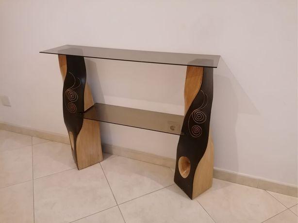 Mesa de hall castanho/bege