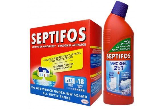 """Бактерии для септика """"Septifos"""" 648г.(18пак.) + """"Septifos WS"""" 750ml."""