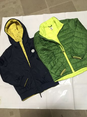 Lote 2 kispos , reversivel azul escuro e amarelo zara, verde H&M