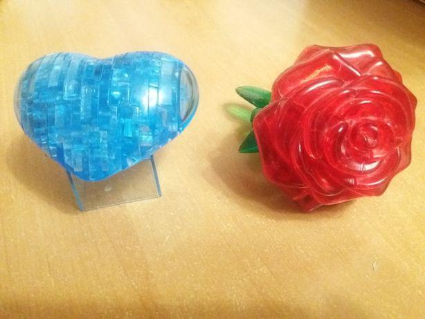 3D пазлы сердце, роза