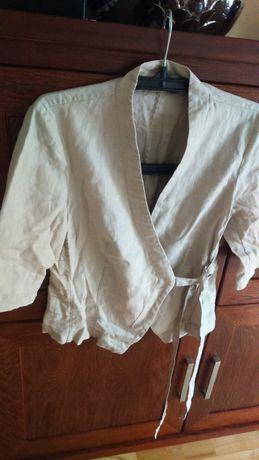 Bluzka wiązana 100% len z połyskiem MEXX ,natur -rękaw 3/4,żakiet L