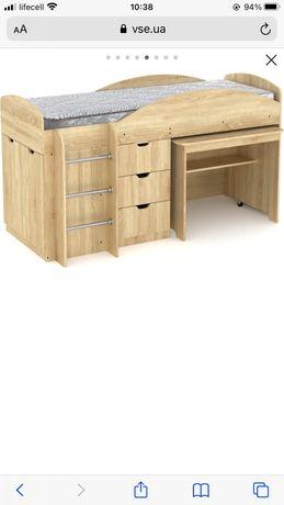 Кровать горка с матрасом без стола