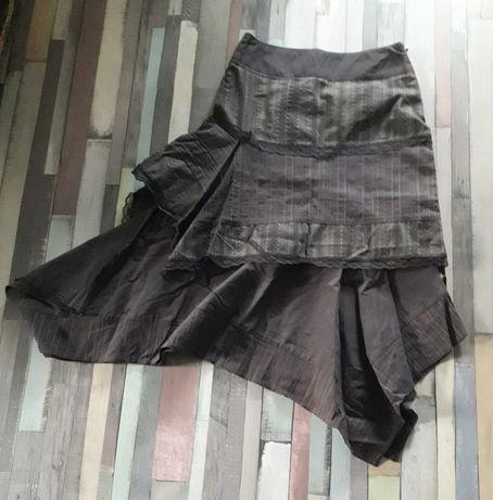 Spódnica brązowa tania nowa elegancka brązowa falbanka S/ rozm. 36