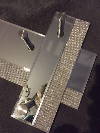 Wieszak srebrny lustrzany z diamencikami błyszczący glamour śliczny