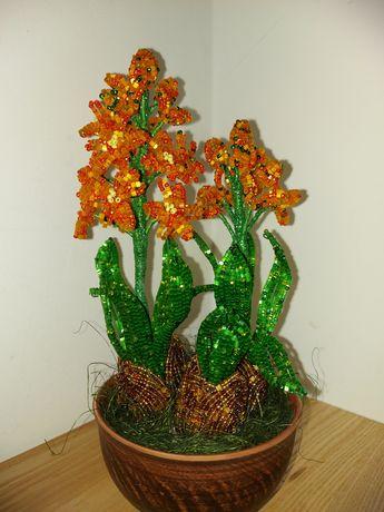 Цветы из бисера гиацинт