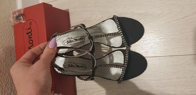 Piękne sandałki czarne błyszczące cyrkonie r. 36
