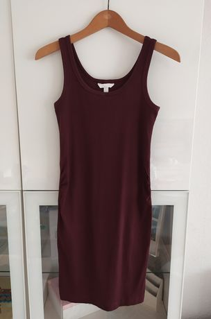 Sukienka ciążowa H&M mama S burgundowa 36 basic prążkowana