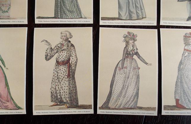 Zestaw 36 pocztówek - włoskie stroje z końca XVIII w.