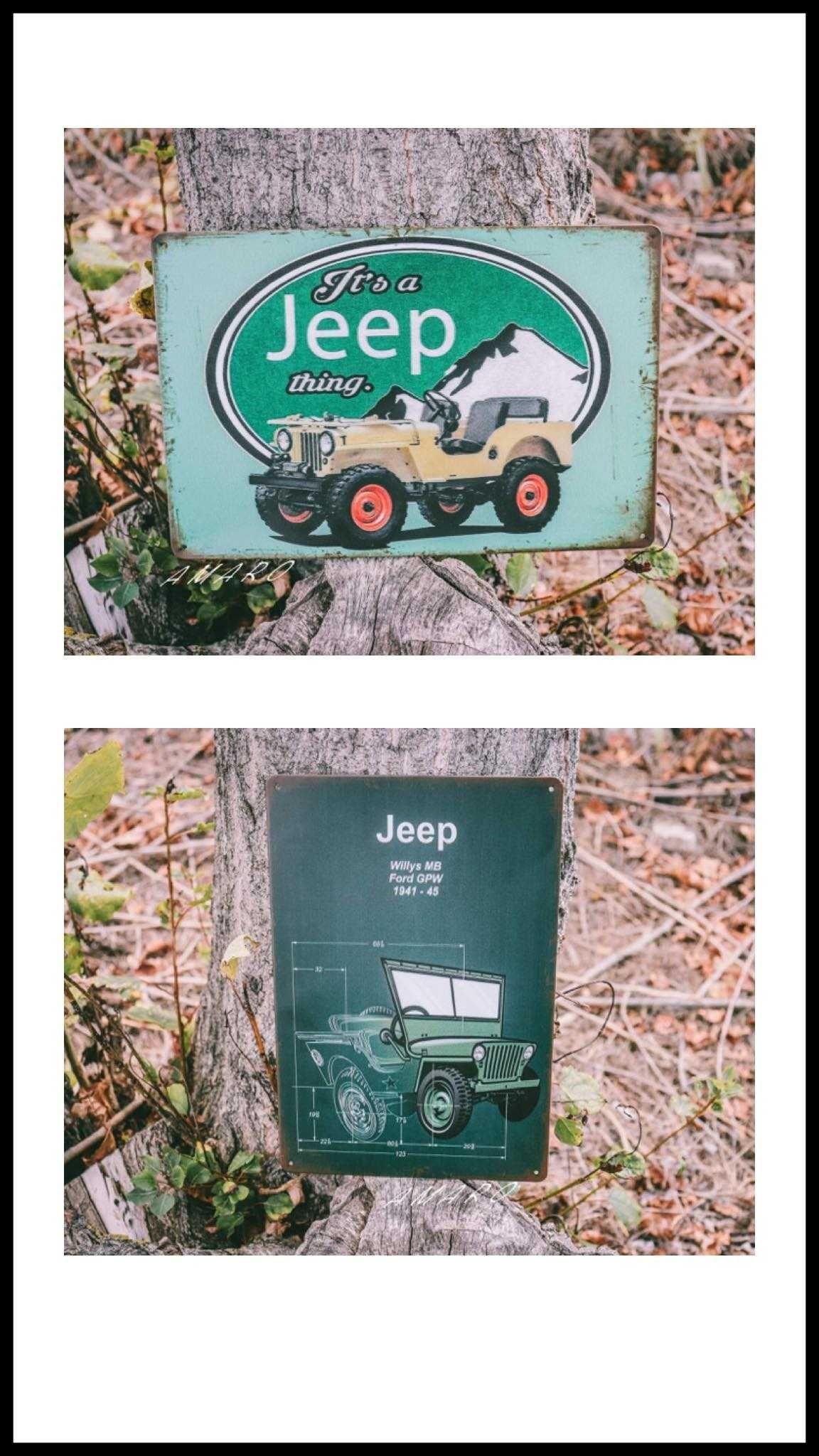 Placa/Chapa de Metal Vintage Retro Jeep Willys (2 Modelos)|NOVAS