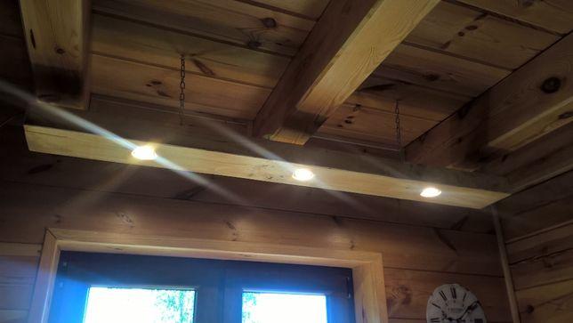 Lampa LED, wisząca drewniana belka z halogenami LED