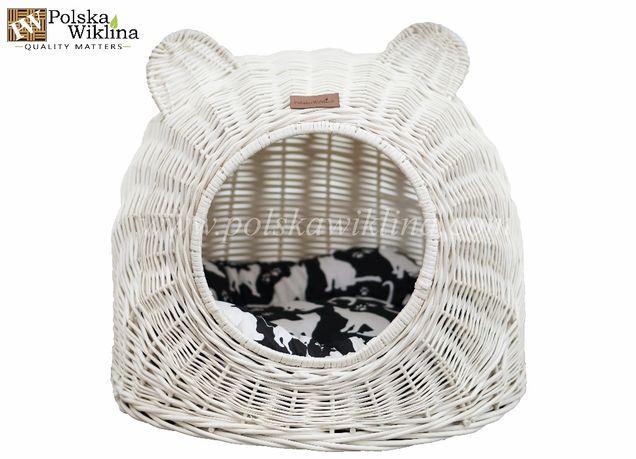 BUDKA WIKLINOWA biała dla kota lub psa + PODUSZKA
