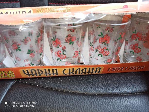 Новые Рюмки 12 шт. с рисунком стеклянные стекло набор в упаковке
