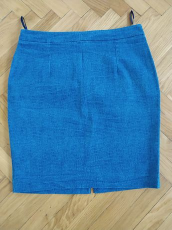 NOWA niebieska ołówkowa spódnica do kolana Pretty Girl rozmiar L