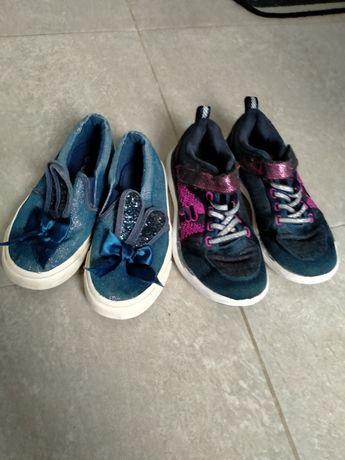 Zestaw butów Adidasy Fila, trampki granatowe CCC roz 30