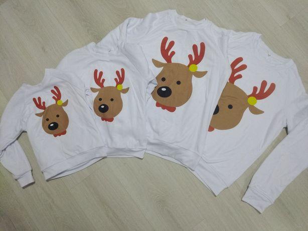 Фемили лук свитшоты свитерки новогодние family look мама дочка сын