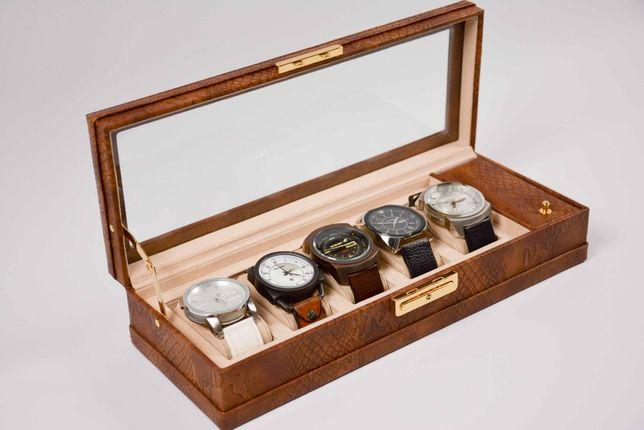 Zestaw zegarków DIESEL, skórzany pasek, stan bardzo dobry, 5 szt.