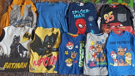 Koszulka koszulki chłopięce Psi Patrol, Cars, Spiderman, Batman
