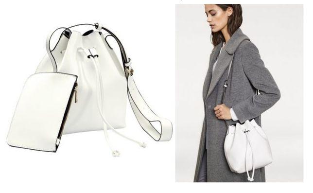 Biała torebka worek z saszetką