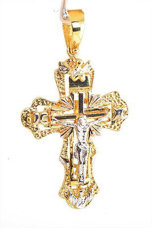 Złota zawieszka krzyżyk z wizerunkiem 433/24