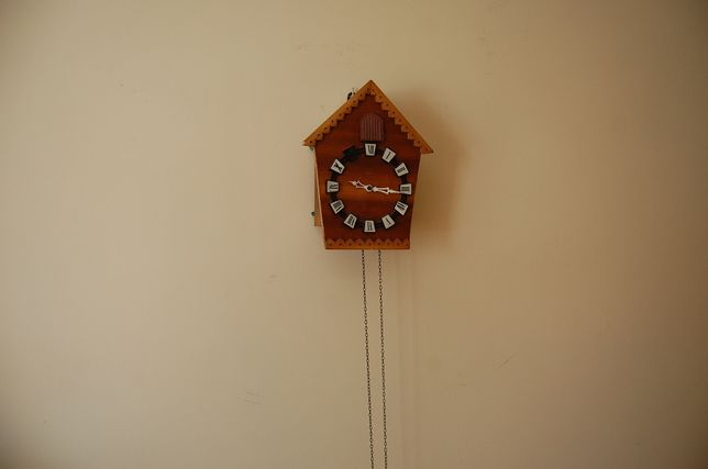 Zegar z kukułką drewniany.Z szyszkami.
