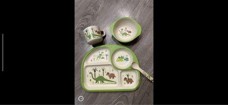 Набор бамбукрвой посуды с динозаврами тарелка чашка ложка