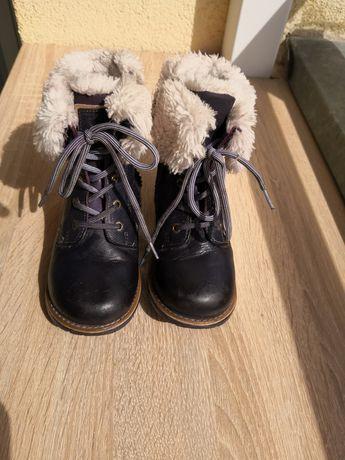 Buty zimowe ciepłe na zamek granatowe futerko dziewczynka rozmiar 27