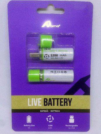 Pilhas (AA) Recarregáveis por USB