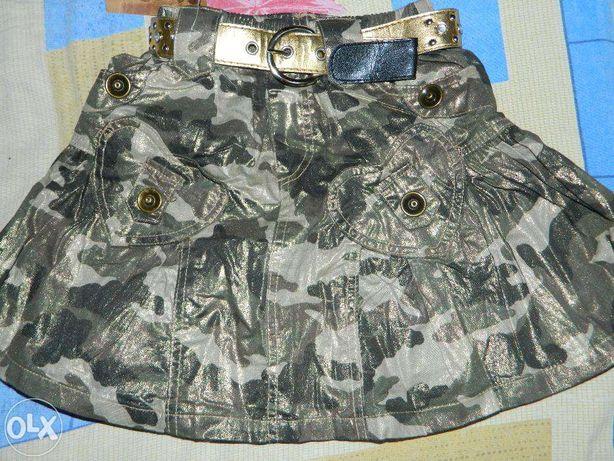 Нарядная фирменная юбка для девочки в стиле милитари.