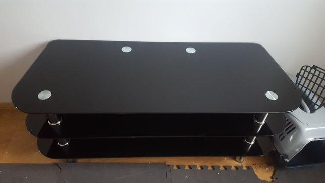 Stolik szklany czarny 3 półki