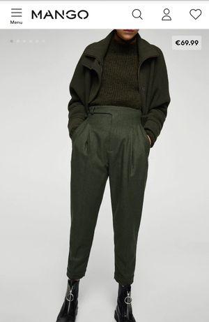 NOWE spodnie Mango committed wełna wool recycled eko khaki zielone