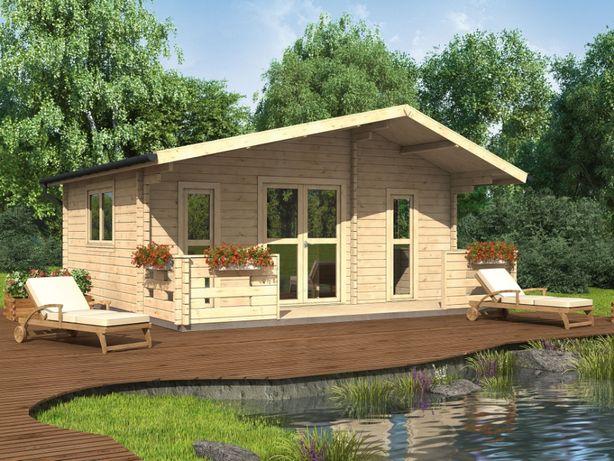 Domek letniskowy drewniany + taras, 3 pokoje tanio, na działkę 6.0x4.5