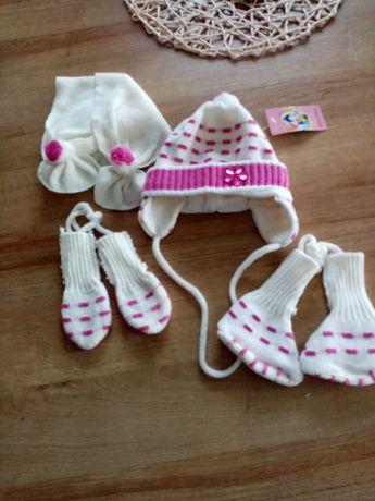 Czapeczka z szalikiem dla dziewczynki