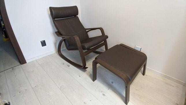 Fotel bujany ikea poang z podnóżkiem