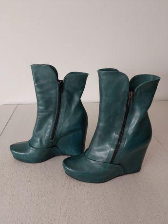 Botki na koturnie skórzane Venezia ciemnozielone kozaki buty rozm. 37