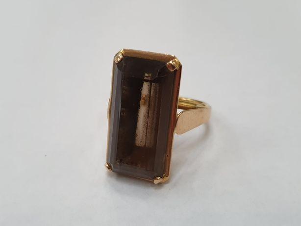 Piękny złoty pierścionek damski/ Retro/ Kwarc Dymny/ 750/ 9 gr/ R16