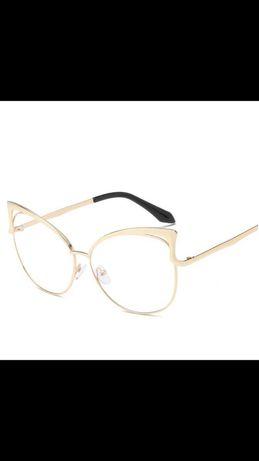 Oprawki do okularów złote zerówki kocie okulary fashion glamour modne
