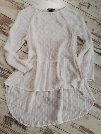 H&M biala Bluzka z przedłużanym tyłem