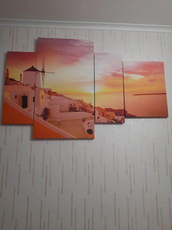 Obraz 4 częściowy Zachöd Słońca na Santorini