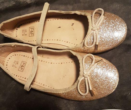 Baleriny dla dziewczynki buty złote raz 34