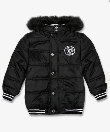 Куртка теплая дутая стёганка с капюшоном. чёрная. зимняя