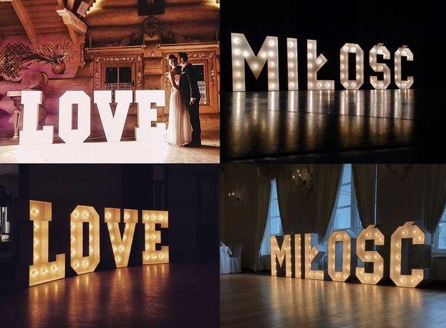 świecący napis LOVE MIŁOŚĆ - ślub, wesele, plener - piękny dodatek