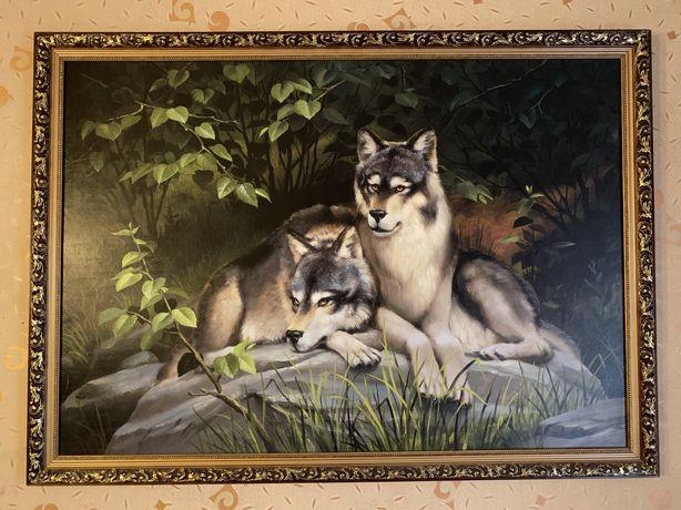 Картина с волками