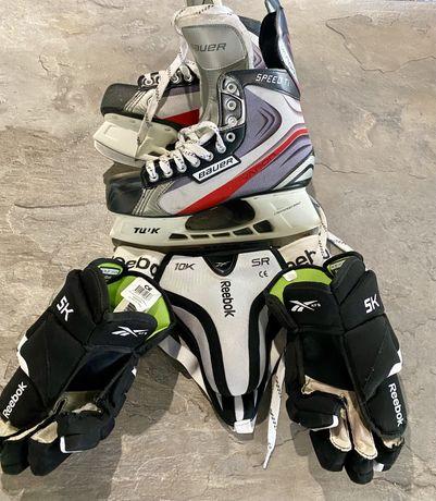 Оригинал хоккейная экипировка коньки Bauer,краги раковина Reebok