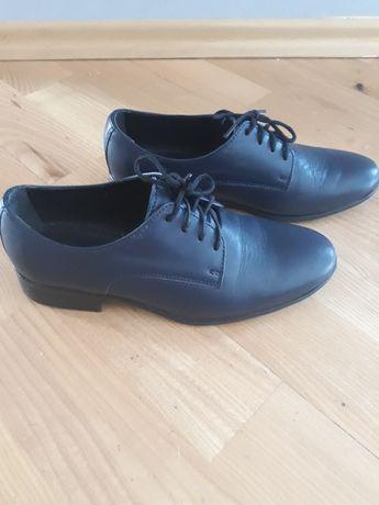 buty komunijne chłopięce skórzane granatowe Pawo