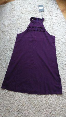 Missguided fioletowa trapezowa sukienka wycięcia na dekolcie M/L