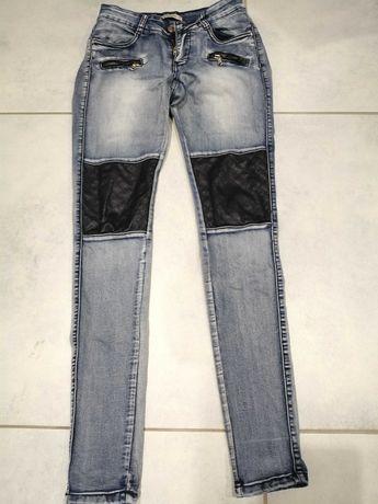 Spodnie jeans z skórką