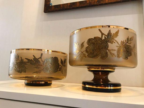 Декоративные вазы из богемского стекла (Позолота, рисунок - розы)